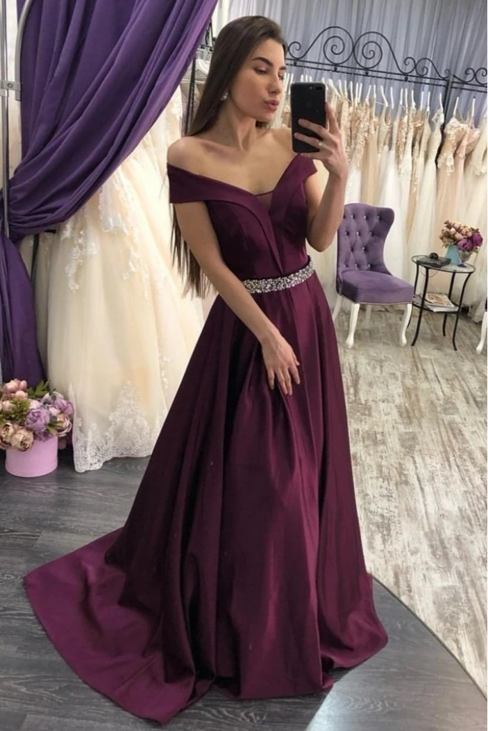 A-Line Beaded Off-the-Shoulder Long Prom Dresses Formal Evening Gowns 6011377