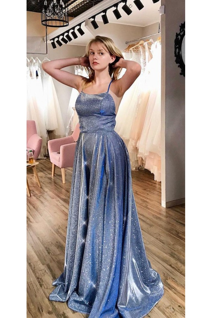 A-Line Sparkle Long Prom Dresses Formal Evening Gowns 6011378