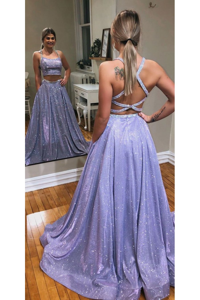 Two Pieces Sparkle Long Prom Dresses Formal Evening Gowns 6011381