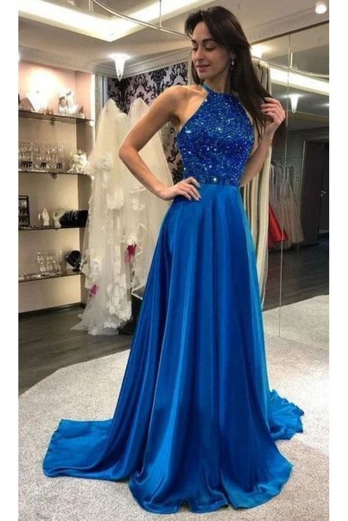 A-Line Beaded Long Prom Dresses Formal Evening Gowns 6011382