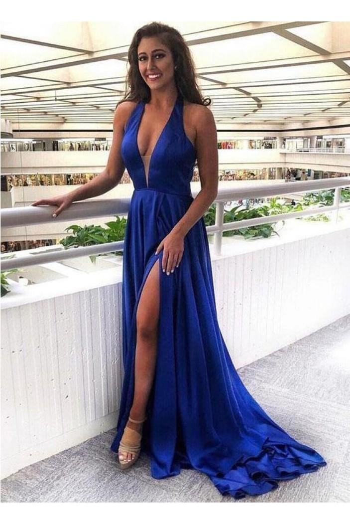 A-Line V-Neck Long Royal Blue Prom Dresses Formal Evening Gowns 6011383