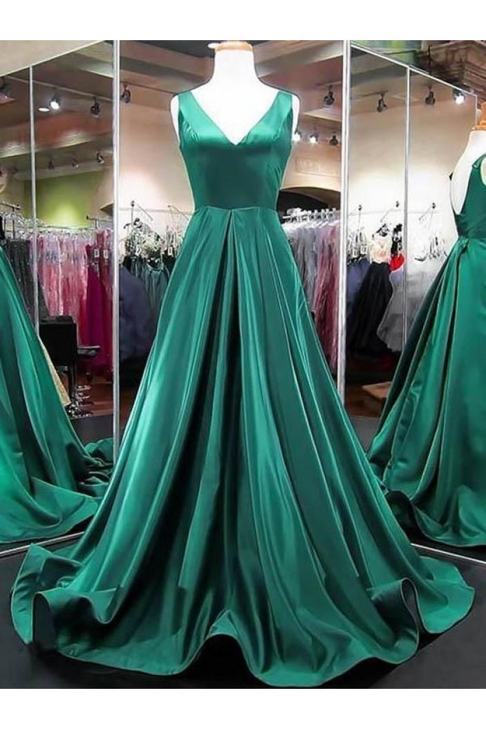 A-Line Long Green Prom Dresses Formal Evening Gowns 6011384