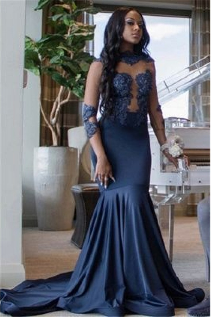 Mermaid Lace Appliques Long Prom Dresses Formal Evening Gowns 6011385