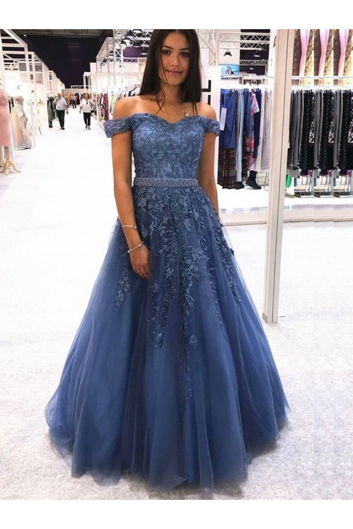 A-Line Beaded Off-the-Shoulder Long Prom Dresses Formal Evening Gowns 6011388