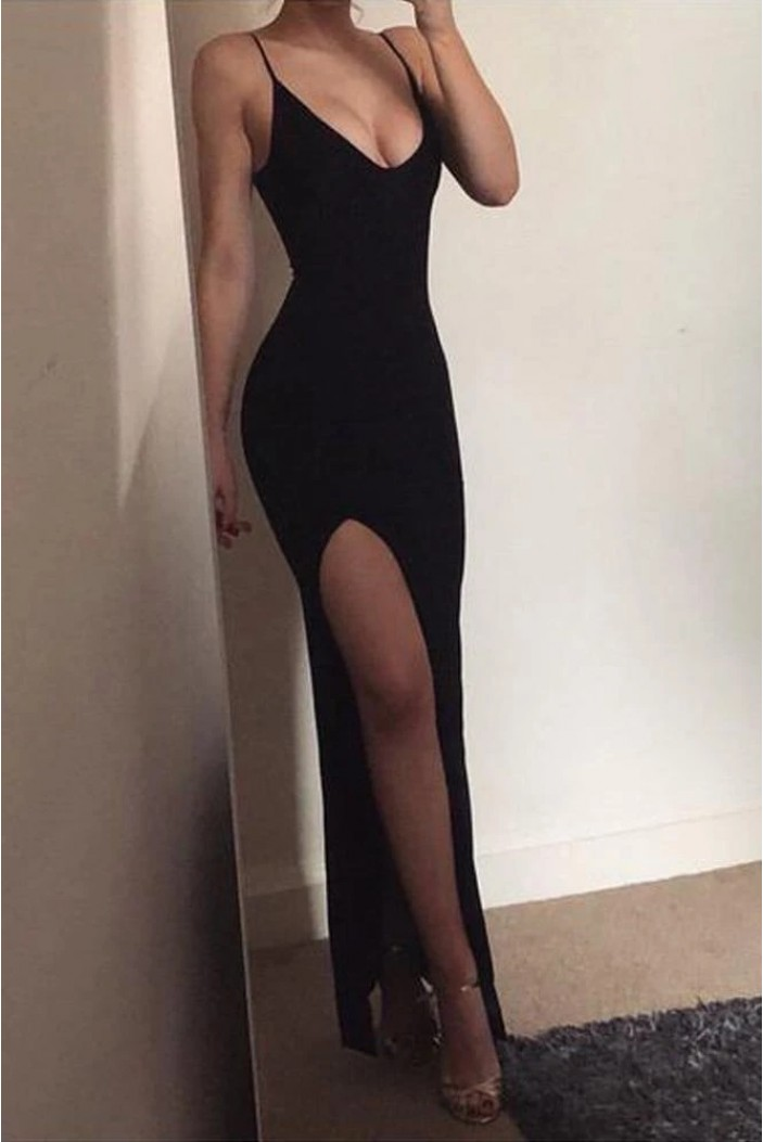 Sheath Simple Long Black Prom Dresses Formal Evening Gowns 6011390
