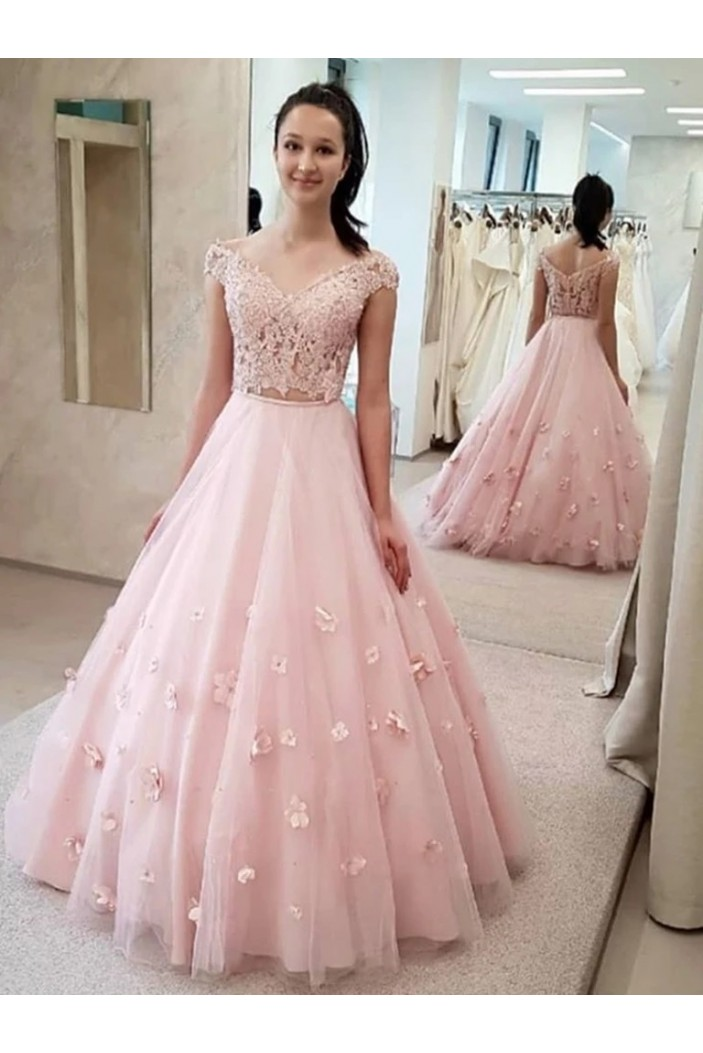 A-Line Lace Two Pieces Long Prom Dresses Formal Evening Gowns 6011391