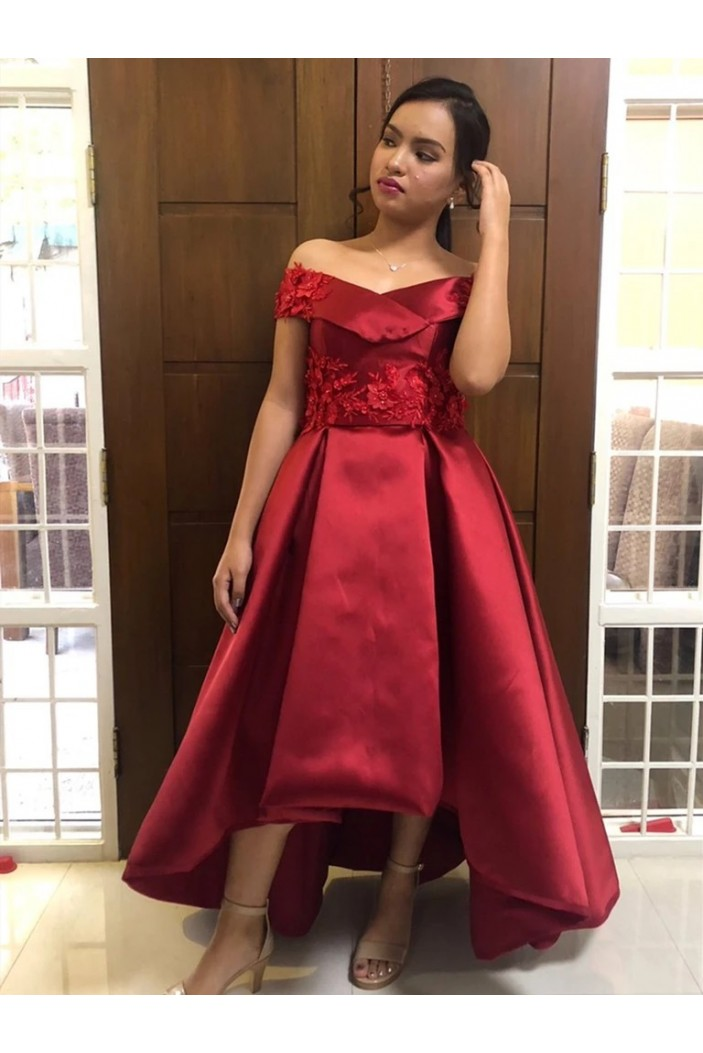 High Low Lace Satin Long Prom Dresses Formal Evening Gowns 6011392