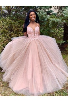 A-Line Lace Tulle Long Prom Dresses Formal Evening Gowns 6011393