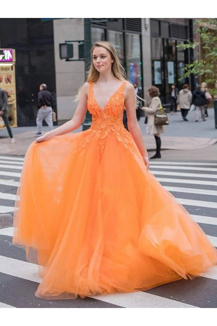 A-Line Lace V-Neck Long Prom Dresses Formal Evening Gowns 6011394