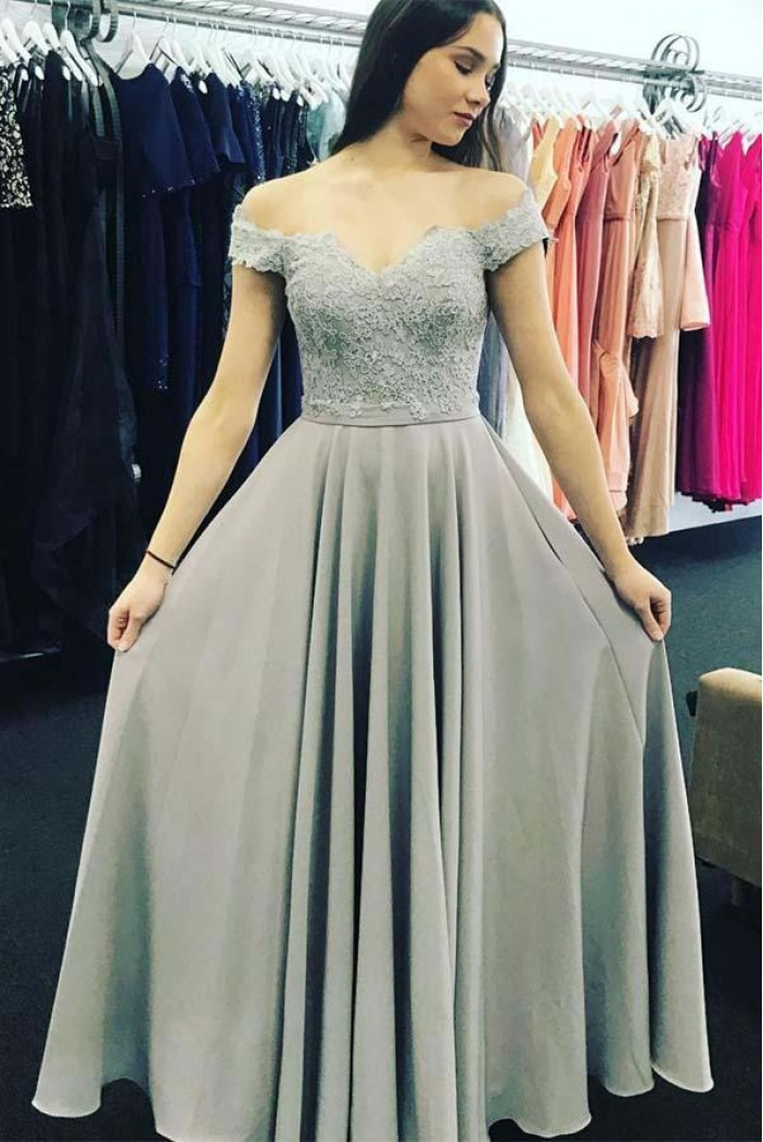 A-Line Lace Off-the-Shoulder Long Prom Dresses Formal Evening Gowns 6011395