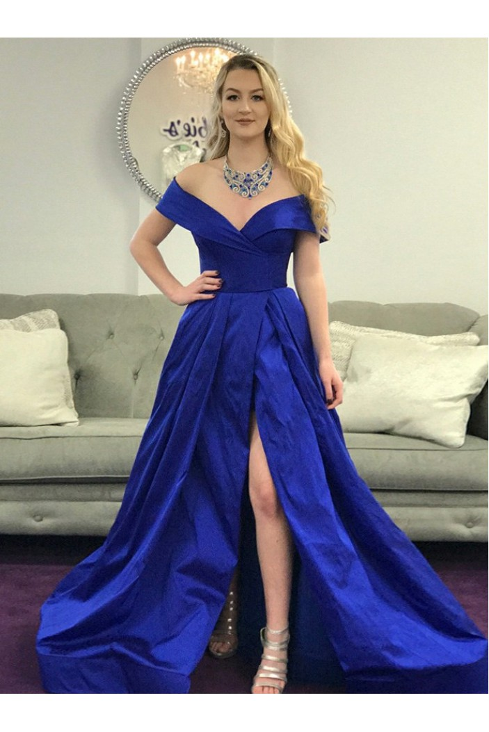 A-Line Royal Blue Long Prom Dresses Formal Evening Gowns 6011396
