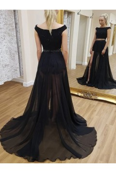 A-Line Two Pieces Beaded Long Prom Dresses Formal Evening Gowns 6011399