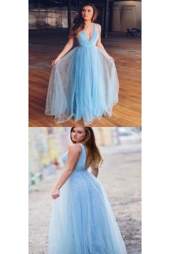 A-Line Sequins Tulle Long Prom Dresses Formal Evening Gowns 6011402