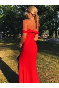 Long Red Off-the-Shoulder Prom Dresses Formal Evening Gowns 6011403