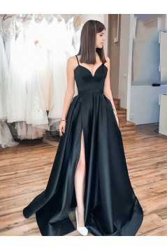 A-Line Long Black Prom Dresses Formal Evening Gowns 6011405