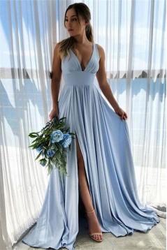 A-Line V-Neck Long Prom Dresses Formal Evening Gowns 6011406