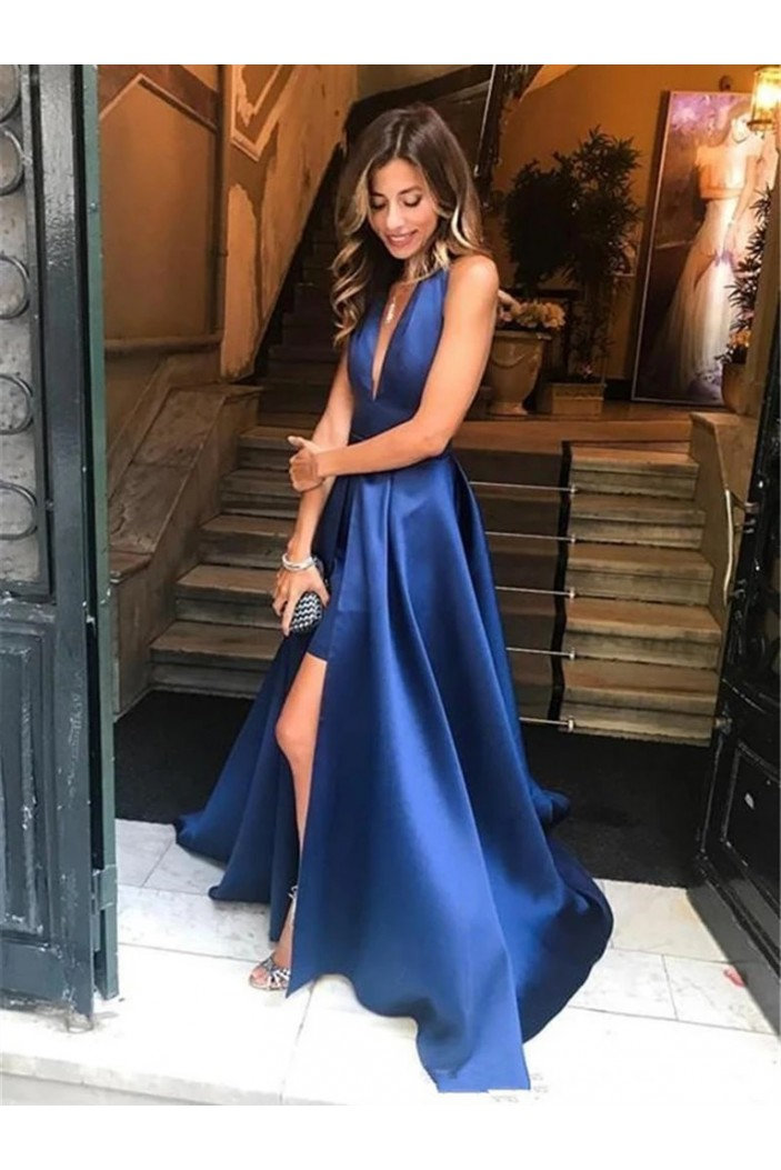 A-Line Halter Satin Long Prom Dresses Formal Evening Gowns 6011407