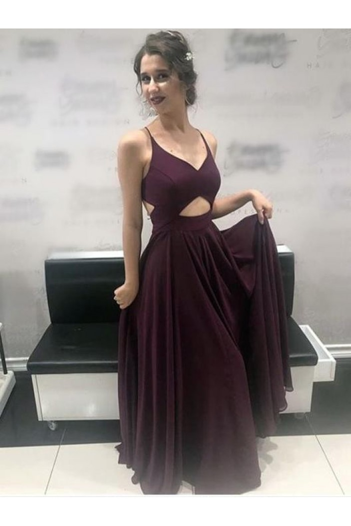 A-Line V-Neck Chiffon Long Prom Dresses Formal Evening Gowns 6011408