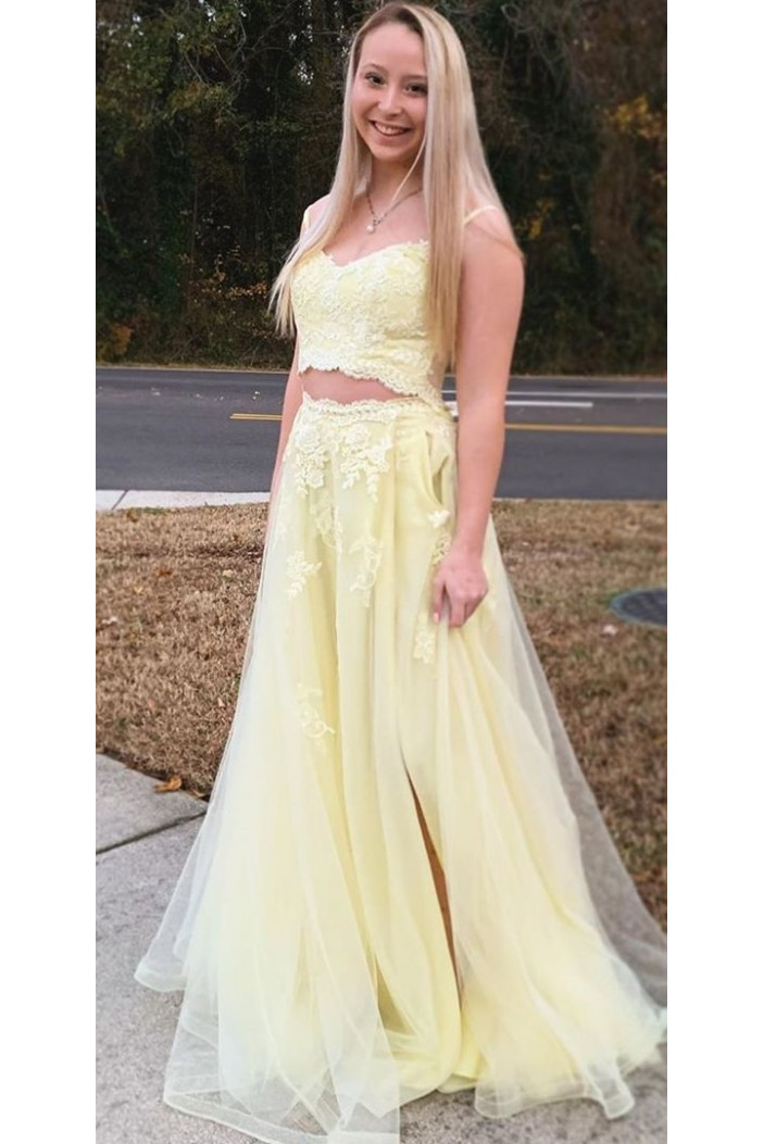 A-Line Lace Two Pieces Long Prom Dresses Formal Evening Gowns 6011409
