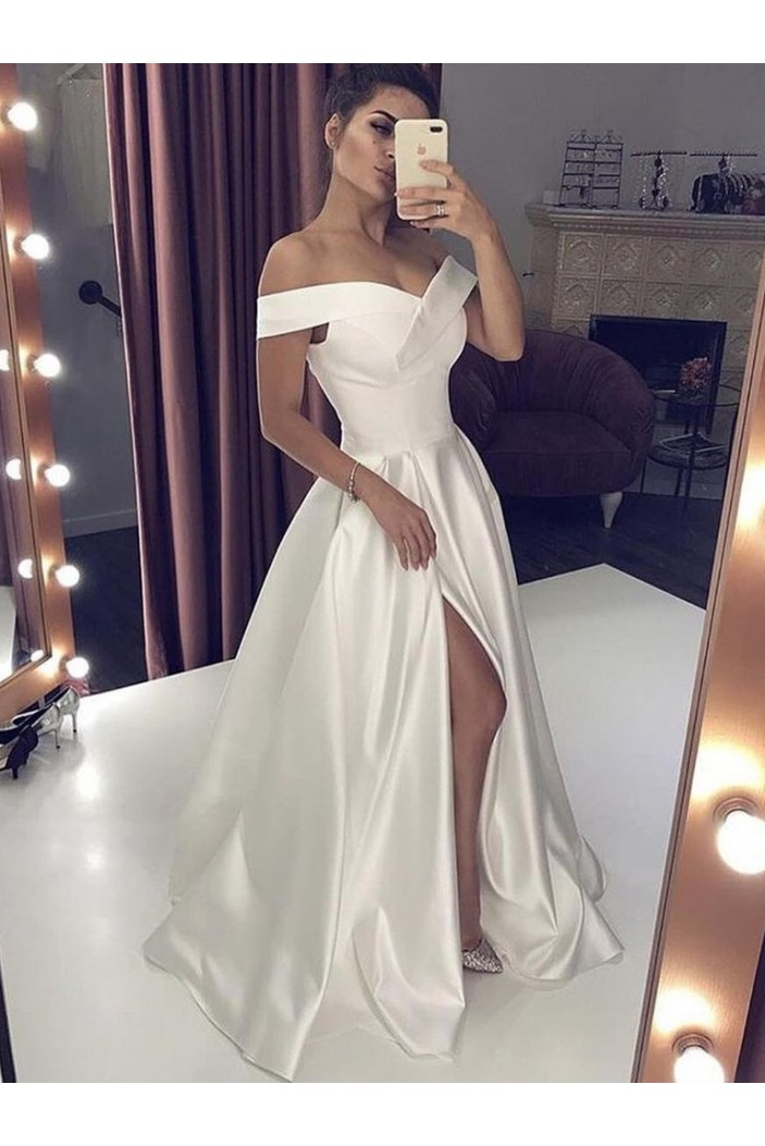A-Line Satin Off-the-Shoulder Long Prom Dresses Formal Evening Gowns 6011415