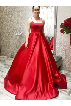 A-Line Long Red Satin Prom Dresses Formal Evening Gowns 6011416