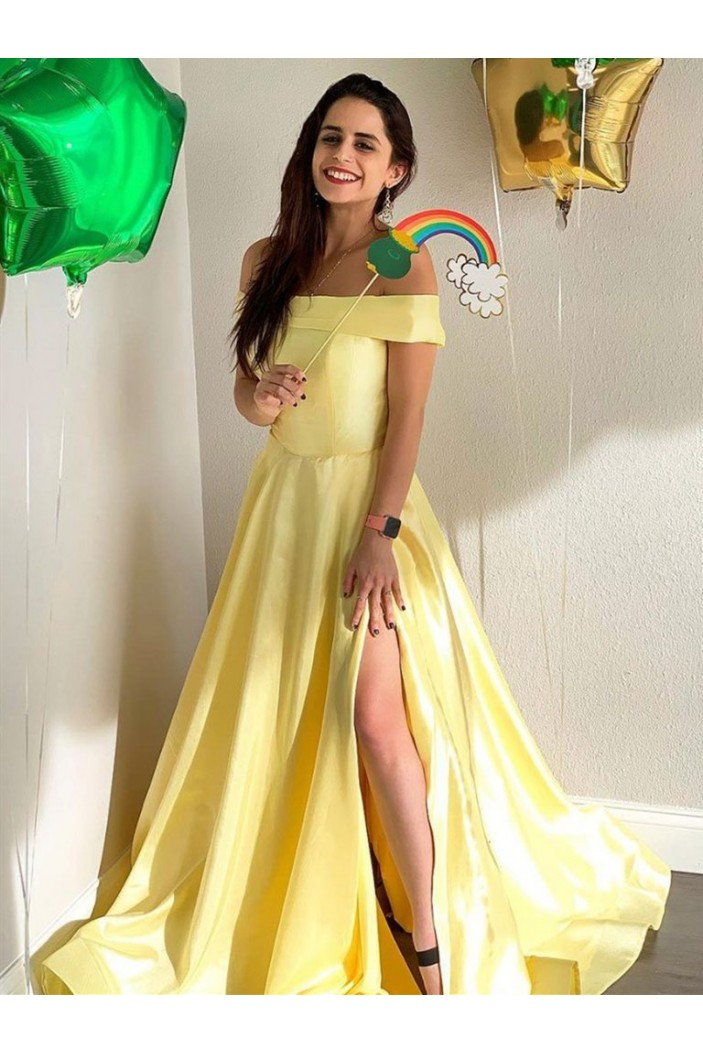 A-Line Long Yellow Off-the-Shoulder Prom Dresses Formal Evening Gowns 6011418