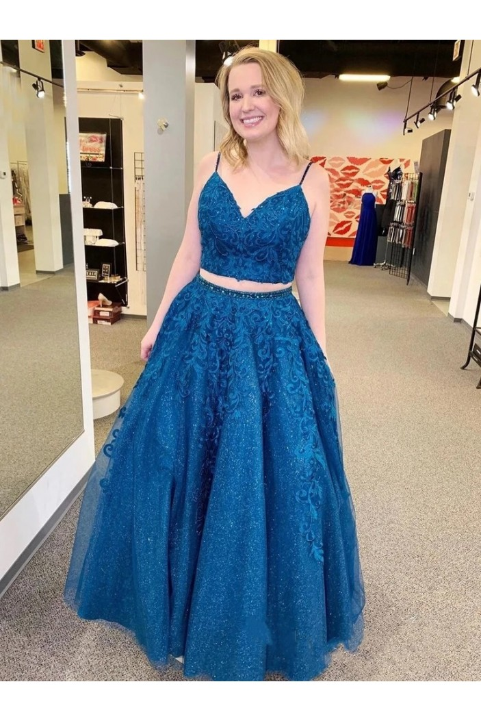 A-Line Lace Sequins Beaded Two Pieces Long Prom Dresses Formal Evening Gowns 6011420