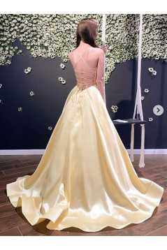 A-Line Long Yellow Satin Prom Dresses Formal Evening Gowns 6011421