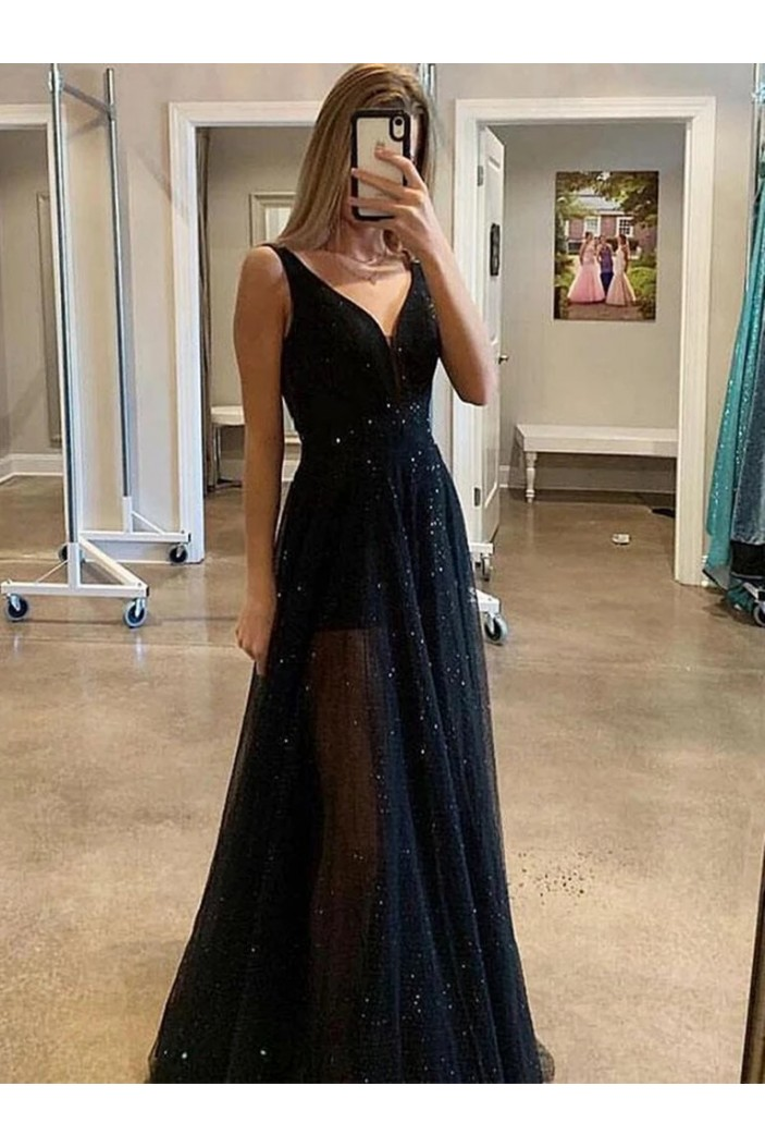 A-Line Sequins Tulle Long Prom Dresses Formal Evening Gowns 6011427