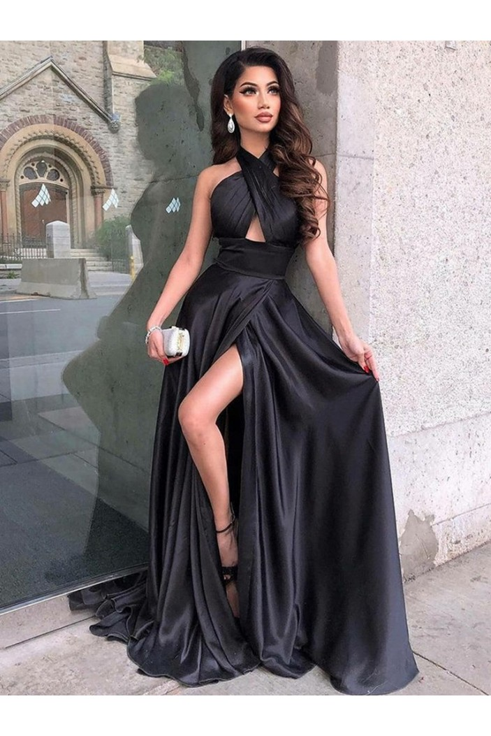 A-Line Long Black Prom Dresses Formal Evening Gowns 6011429