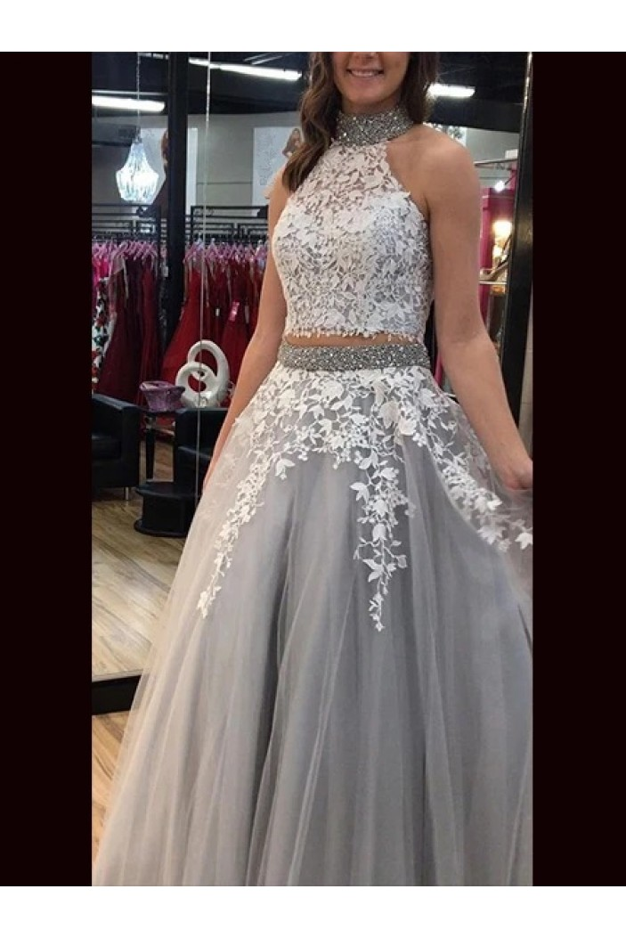 A-Line Beaded Lace Two Pieces Long Prom Dresses Formal Evening Gowns 6011436