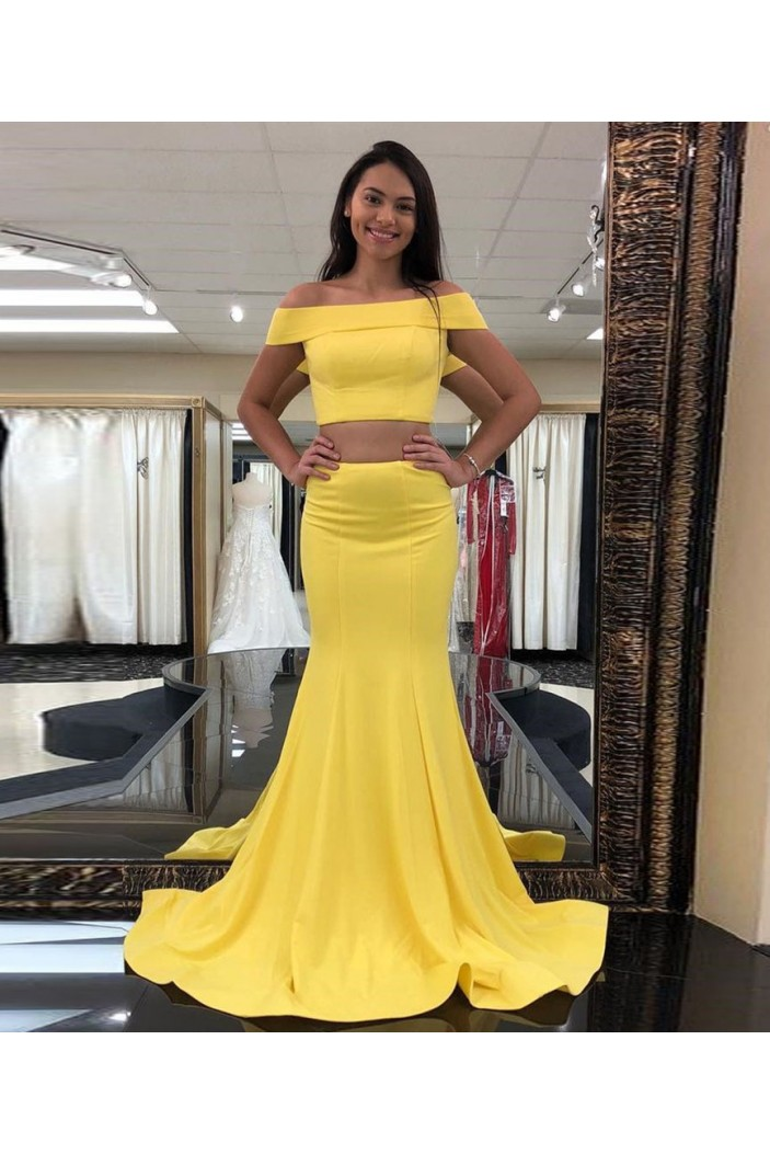 Mermaid Off-the-Shoulder Two Pieces Long Prom Dresses Formal Evening Gowns 6011437