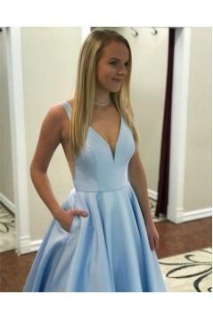 A-Line Long Pink V-Neck Prom Dresses Formal Evening Gowns 6011438