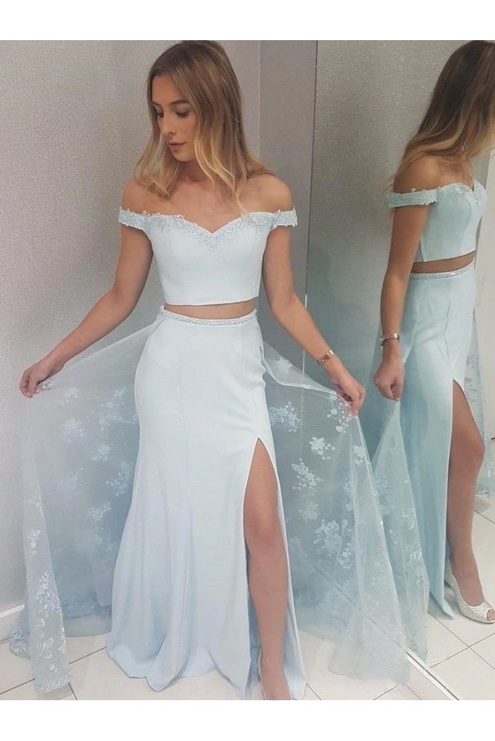 Two Pieces Lace Long Prom Dresses Formal Evening Gowns 6011440