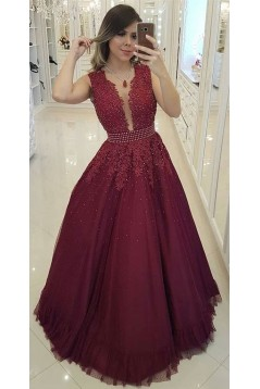 A-Line Beaded Lace Long Prom Dresses Formal Evening Gowns 6011442