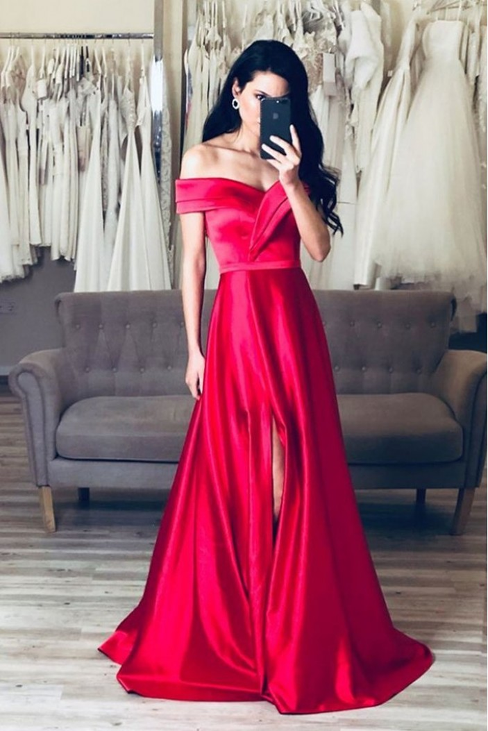 A-Line Off-the-Shoulder Long Prom Dresses Formal Evening Gowns 6011445
