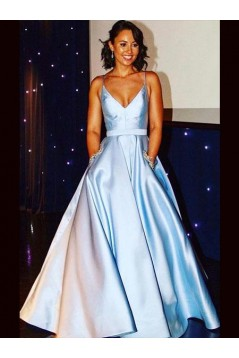 A-Line Beaded V-Neck Long Prom Dresses Formal Evening Gowns 6011446