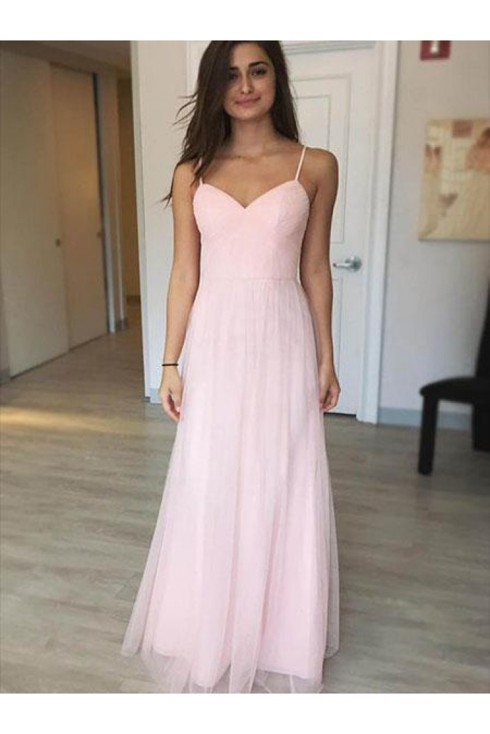 A-Line Long Pink Tulle Prom Dresses Formal Evening Gowns 6011447