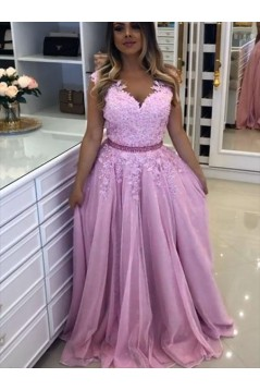 A-Line Beaded Lace Long Tulle Prom Dresses Formal Evening Gowns 6011449