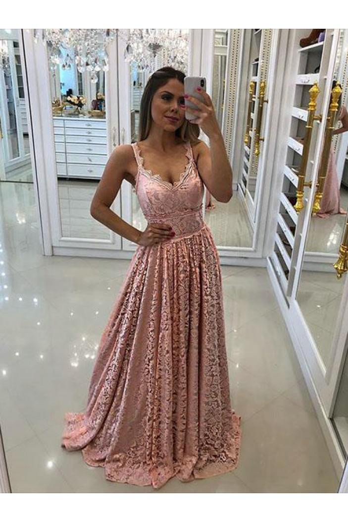 A-Line Lace Long Prom Dresses Formal Evening Gowns 6011451