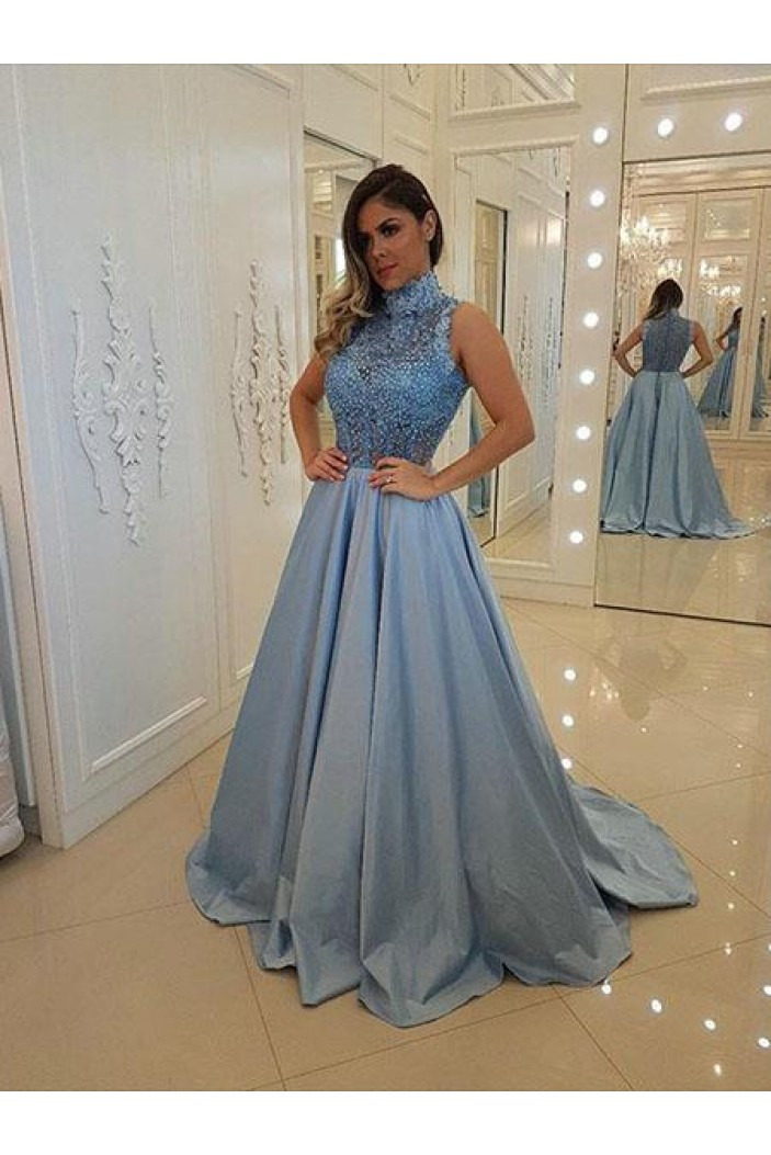A-Line Beaded Lace Long Prom Dresses Formal Evening Gowns 6011452