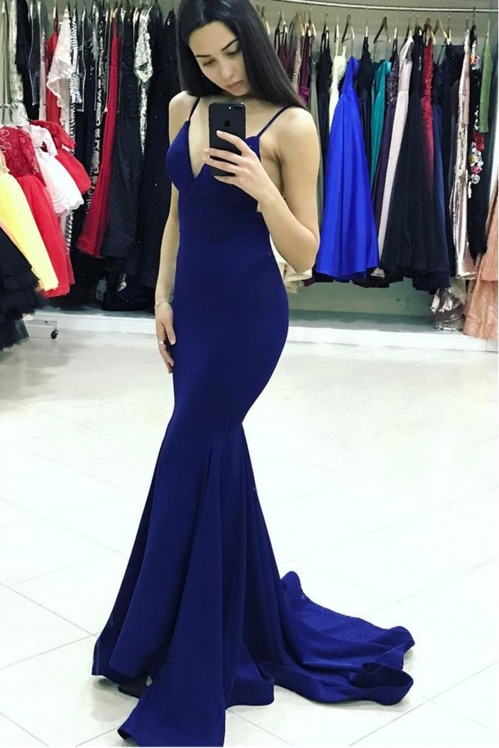 Mermaid V-Neck Long Prom Dresses Formal Evening Gowns 6011454