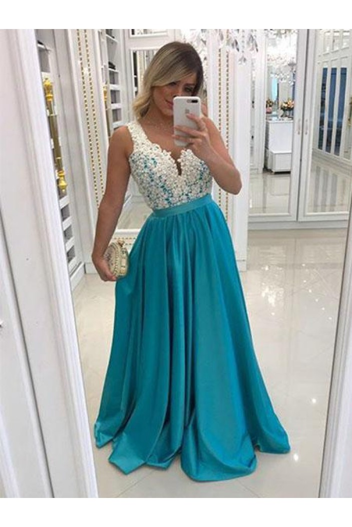 A-Line Beaded Lace Long Prom Dresses Formal Evening Gowns 6011455