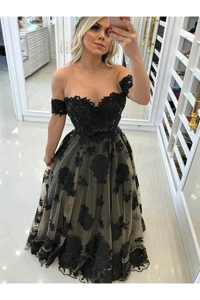 A-Line Lace Long Prom Dresses Formal Evening Gowns 6011456