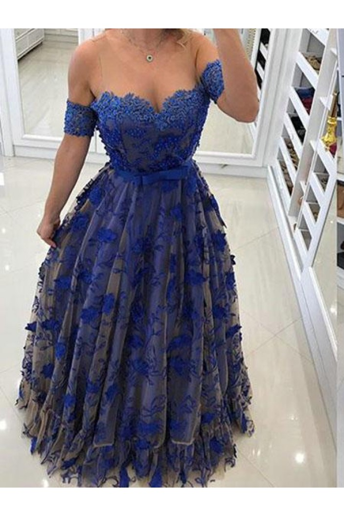 A-Line Lace Off-the-Shoulder Long Prom Dresses Formal Evening Gowns 6011457