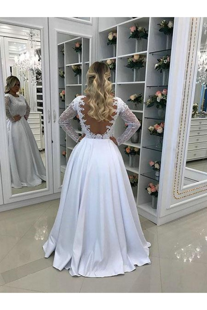 A-Line Long White Lace Prom Dresses Formal Evening Gowns 6011458