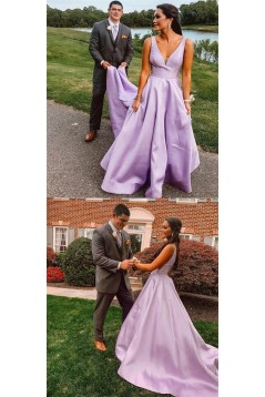 A-Line V-Neck Long Prom Dresses Formal Evening Gowns 6011459