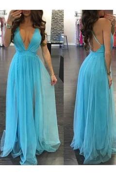A-Line V-Neck Long Prom Dresses Formal Evening Gowns 6011464