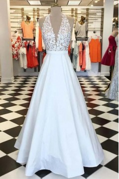 A-Line Halter Lace Long Prom Dresses Formal Evening Gowns 6011465