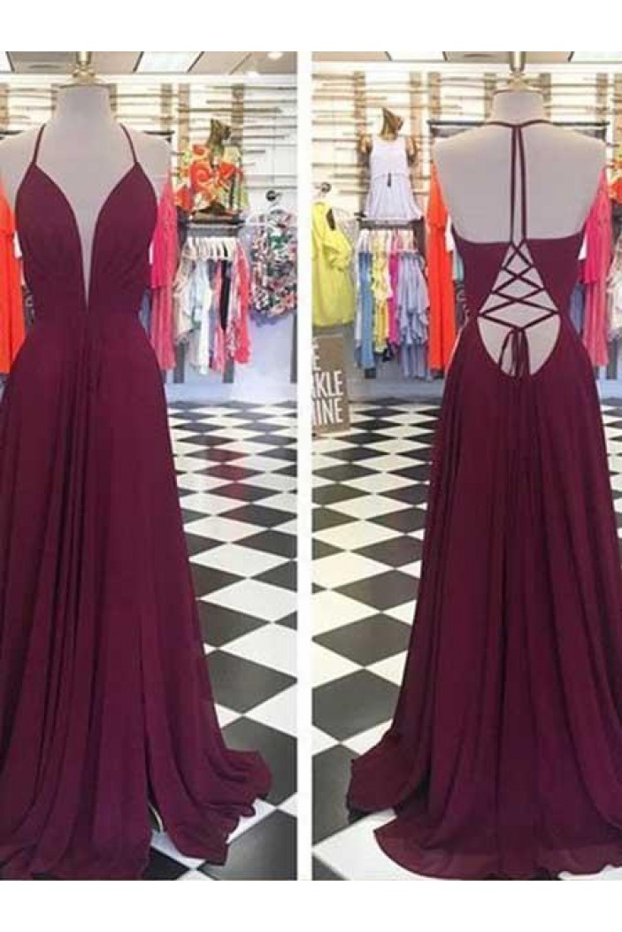 A-Line Chiffon Long Prom Dresses Formal Evening Gowns 6011466